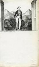 04x083.7 - Man on stage or other in front of view of mountains, Civil War Illustrations from Winterthur's Magnus Collection